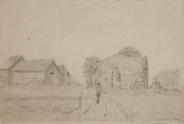 Edvard Munch-Mariakirkens Ruiner i Maridalen-1882