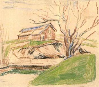 Edvard Munch-Drengestuen pa Ekely (The Cottage at Ekely)-