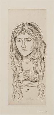 Edvard Munch-Kvinnestudie med Langt Har / Woman with Long Hair-1896