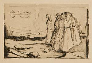 Edvard Munch-Junge Frauen am Strande II / Unge Kvinner pa Stranden II / Young Women on the Beach II (S. 263; W. 292)-1907