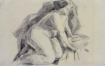 Edvard Munch-Sittende Akt / Female Nude Seated-