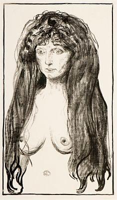 Edvard Munch-Kvinne med Rodt Har og Gronne Oyne, Synden / Woman with Red Hair and Green Eyes, The Sin / Aktfigur, Die Sunde / Nude figure, Sin / Madchen mit langen roten Haaren, Die Sunde, Weibliche Aktfigur (Sch. 142; W. 198)-1902