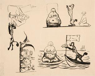 Edvard Munch-Karikatur: Puddelen og Paddegrisen; Karikatur: Puddelen i Batstevnen; Karikatur: Overfallet-1903