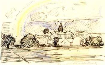 Edvard Munch-Husklynge med Kirkespir (Group of Houses with Church Spire)-1930