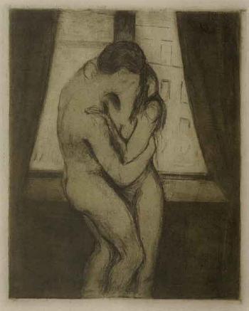 Edvard Munch-Der Kuss / Kyss / The Kiss (Woll 23; Schiefler 22)-1895