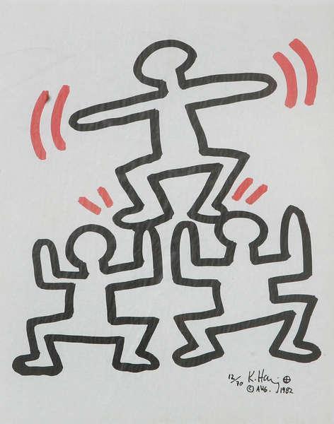 Keith Haring-Keith Haring - 3 Man Pyramid-1982