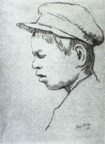 Diego Rivera-Profile of a young boy wearing a cap-1948