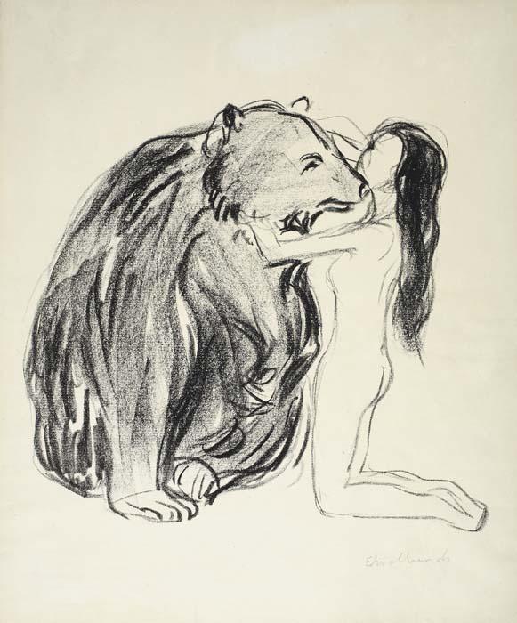 Edvard Munch-Das Weib und der Bar / Kvinnen og Bjornen / The Woman and the Bear / (Woll 362)-1909