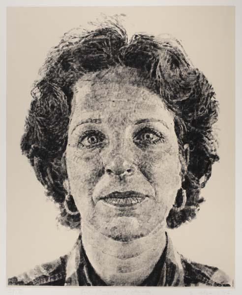 Chuck Close-Leslie Finger Print Silk Colle-1986