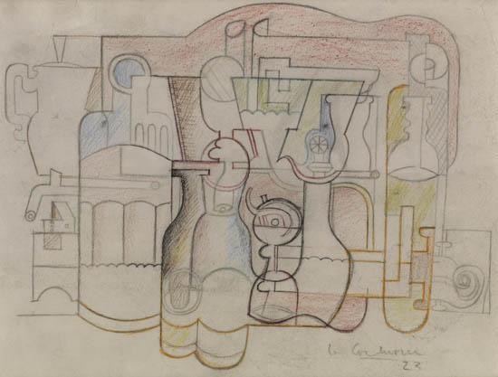 Le Corbusier-Nature morte aux nombreux objects.-1923