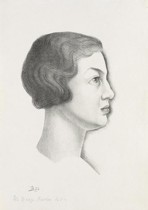 Diego Rivera-Portrait of Emma Dunbar in Profile-1932