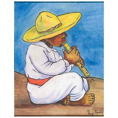 Diego Rivera-Nino campesino tocando la flauta-