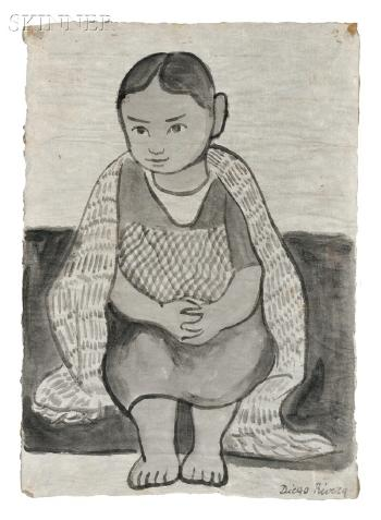 Diego Rivera-Portrait of a Seated Young Girl-