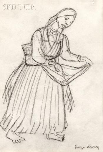 Diego Rivera-Purepechan Woman, Perhaps Dancing-