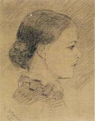Edvard Munch-Portratt av Louise Nikoline Munthe / Portrait of Louise Nikoline Munthe-1882
