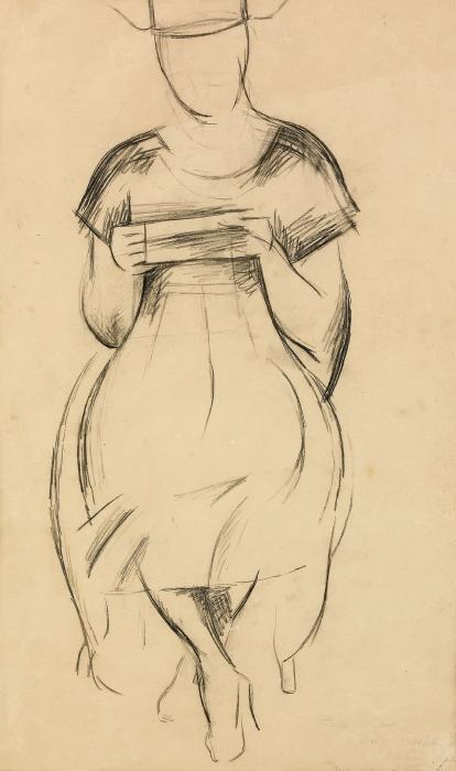 Diego Rivera-Modellstudie forestallande Vera Ostrom-1921