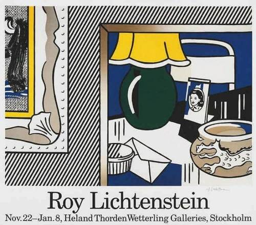 Roy Lichtenstein-Exhibtion poster depicting 'Two Paintings: Green Lamp'-1986