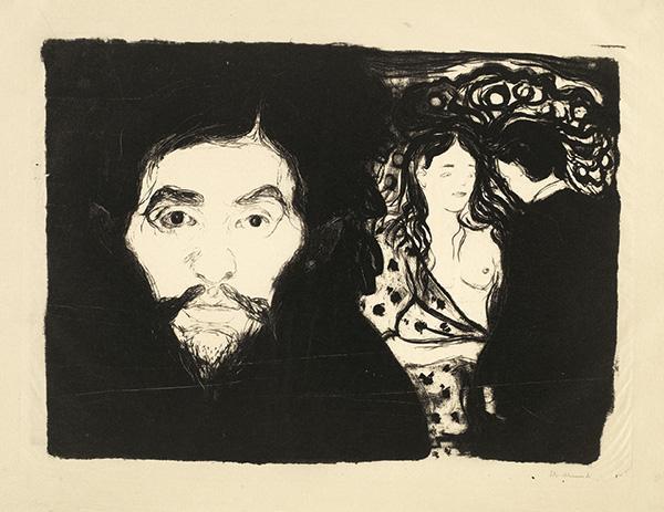 Edvard Munch-Eifersucht I / Eifersucht, Klein / Jealousy I / Sjalusi I (Woll 68)-1896