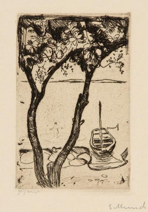 Edvard Munch-Landschaft mit Einem Boot-1900