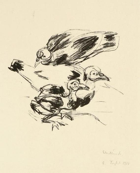 Edvard Munch-Junge Tauben II-1915