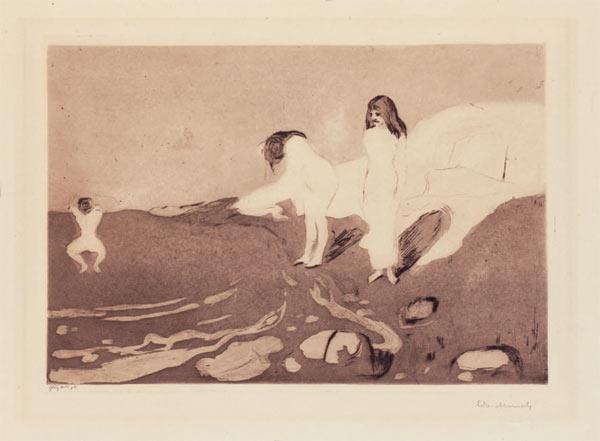Edvard Munch-Badende Madchen / Badende Frauen / Badende Kvinner / Women Bathing / Girls Bathing (Woll 18 / b / V (v XV.))-1895