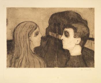 Edvard Munch-Anziehung - Liebespaar am Strand-1895