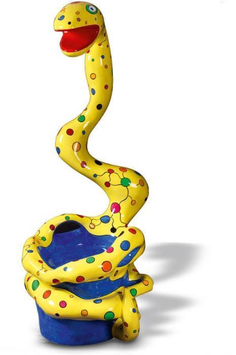 Niki de Saint Phalle-Pouf serpent, jaune-1991