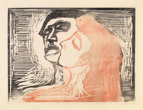 Edvard Munch-Hode ved hode / Head by head / Kopf bei Kopf / Mann und Weib sich kussend (Woll 268)-1905