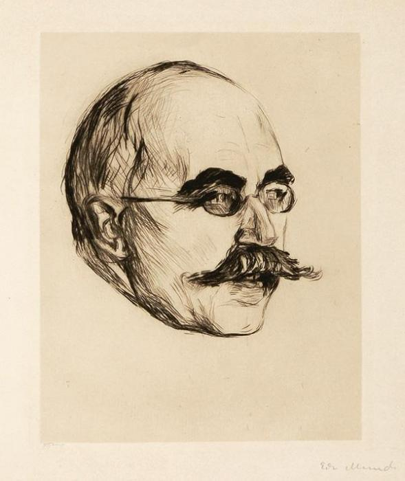 Edvard Munch-Gustav Schiefler / Portrait eines Herrn / Landgerichtsdirektor Gustav Schiefler / Portrait of a Man / Portrait of Gustave Schiefler-1906