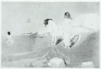 Edvard Munch-Badende Madchen / Badende Frauen / Badende Kvinner / Women Bathing / Girls Bathing-1895
