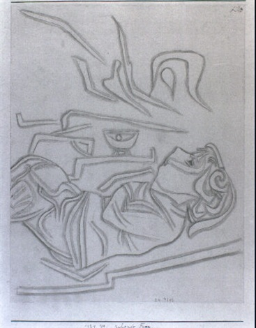 Paul Klee-Ruhende Frau (Portrait Of Lily Klee)-1924
