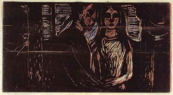 Edvard Munch-Liebespaar im Tannenwald (Lovers in the Forest)-1915