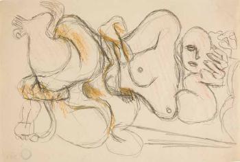 Le Corbusier-Liegender weiblicher Akt, den Kopf aufgestutzt-1930
