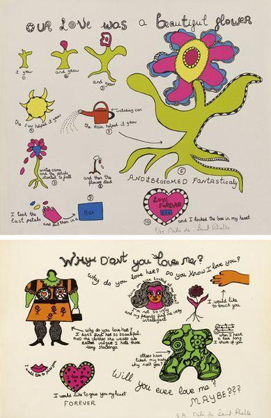 Niki de Saint Phalle-(i) Why don't you love me; (ii) Our love was a beautiful flower-