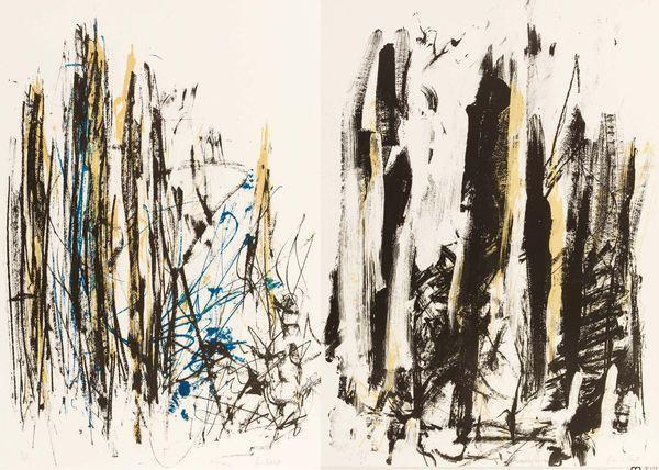 Joan Mitchell-Arbres (black, yellow and blue); Arbres (black and yellow)-1992