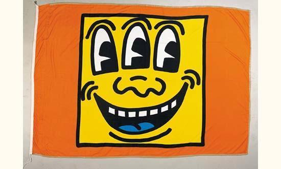 Keith Haring-Keith Haring - Face (banner)-1988