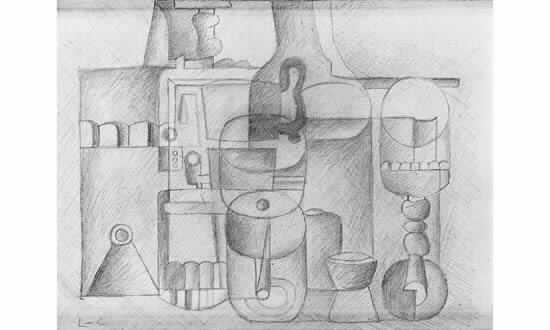 Le Corbusier-Nature morte aux verres et la bouteille-1925
