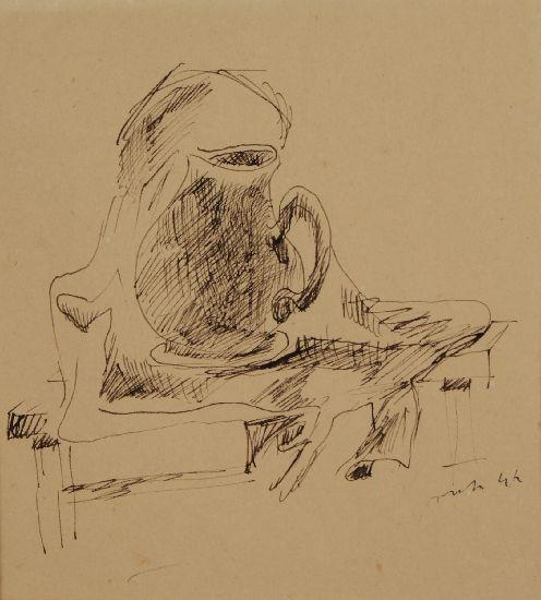 Lucio Fontana-Composizione con brocca-1974