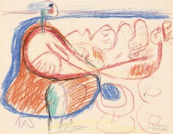 Le Corbusier-Strandszene mit zwei Figuren-1952