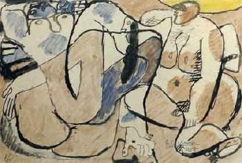 Le Corbusier-Etude pour Trois figures et tronc d'arbre jaune-1937