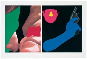 John Baldessari-Noses & Ears, Etc: Couple and Man with Gun-2007