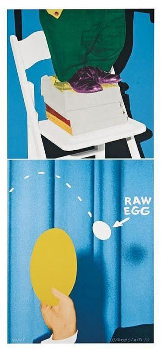 John Baldessari-Hand and/or Feet: Chair and Books/Plate and Egg-2010