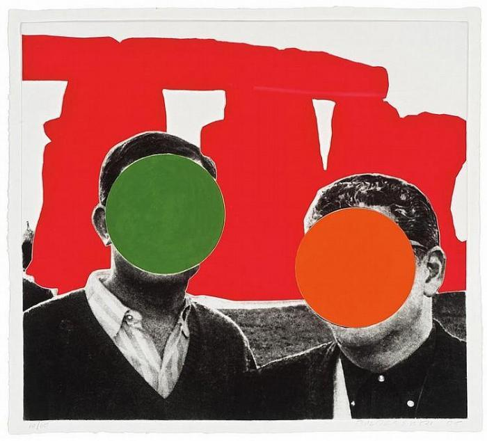 John Baldessari-Stonehenge (with Two Persons), Red-2005