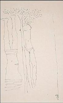 Maqbool Fida Husain-Figures and Tree-