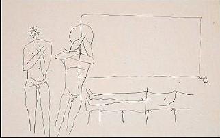 Maqbool Fida Husain-Three Nude Figures-