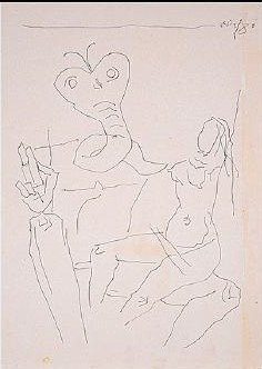 Maqbool Fida Husain-Nude figure with creature-