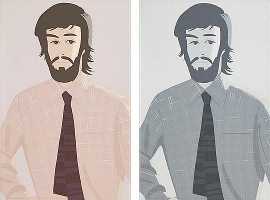 Alex Katz-Plaid Shirt 1 / Plaid Shirt 2-1981