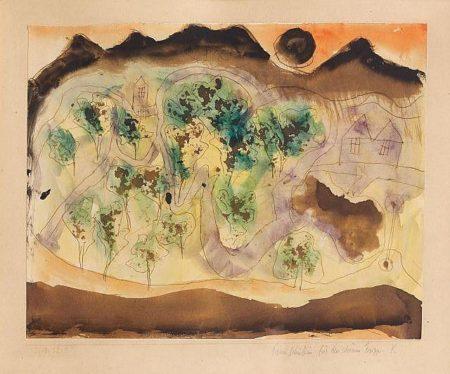 Paul Klee-Hugellandschaft M. D. Schwarzen Sone-1918