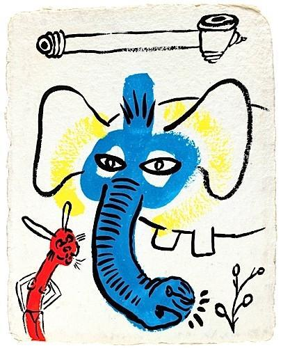 Keith Haring-Keith Haring - Bunny and Elephant-1986