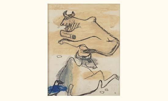 Le Corbusier-Etude de deux vaches et oiseau-1953